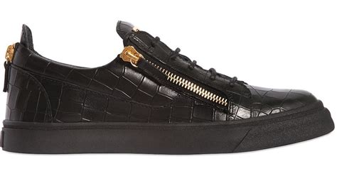 Low Leather by Giuseppe Zanotti Nicki Croc Embossed Leather Low Top