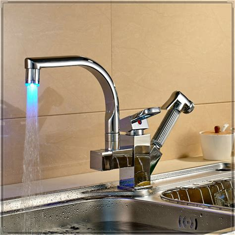 faucet kitchen sink led swivel spout kitchen sink faucet pull out spray one mixer tap porta prato mesa in