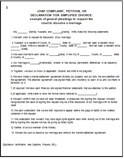 fake divorce papers pdf worksheet to print fake