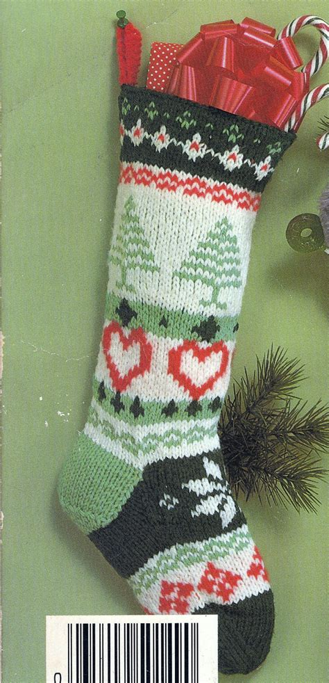knit christmas fair isle stocking vintage knitting pdf