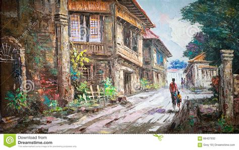 painting of houses oil painting on canvas stock illustration image 66437932