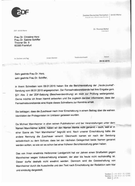 Musterbrief Antwort Auf Beschwerde Nachtrag Beschwerde An Zdf Fernsehrat Vom 09 01 2015