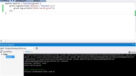 node js tutorial visual studio 2013 using grunt visual studio 2013 task runner explorer