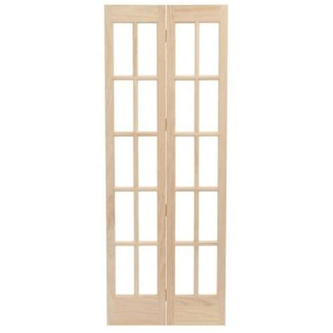 home depot glass doors interior pinecroft 32 in x 80 in classic glass wood universal reversible interior bi fold door