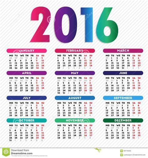 calendario de 2016 do iperj projeto do calend 225 rio 2016 ilustra 231 227 o do vetor imagem