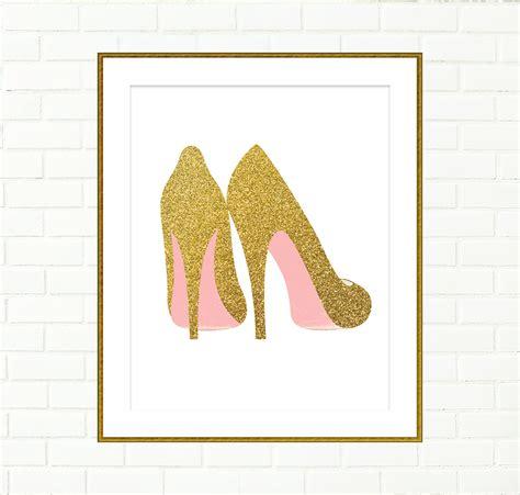 unicorn print printable wall art decor gold glitter unicorn gold shoes print printable wall decor art poster fashion