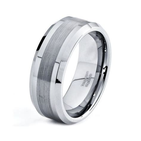 mens 8mm tungsten wedding band brushed carbide custom