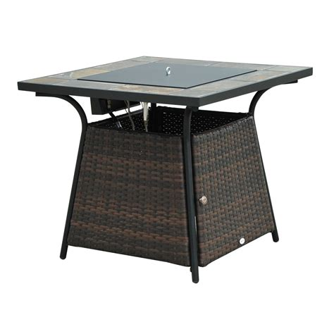 Lp Gas Outdoor Pit Outsunny 32 Quot Outdoor Wicker Base Lp Gas Pit Table W