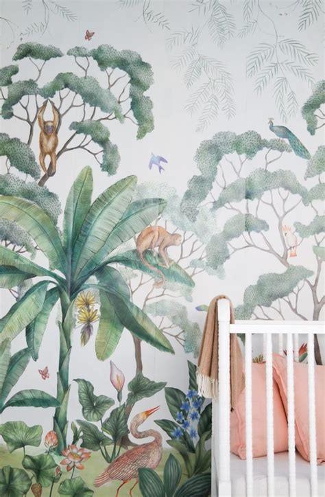 pink jungle wallpaper kids rooms with tropical inspiration petit small