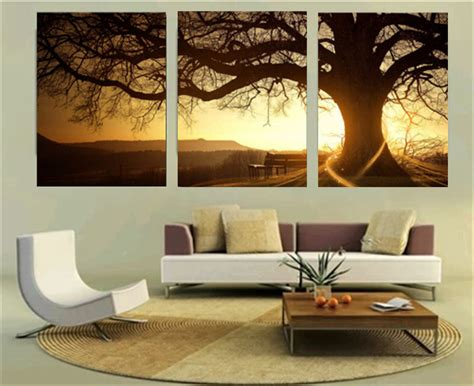 30x40cm frameless 3 panel modern printed tree painting