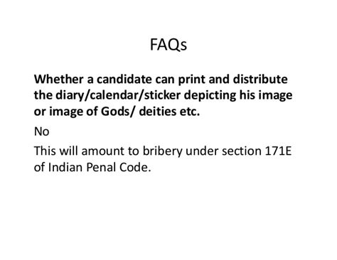section 171 of ipc election commission model code of conduct