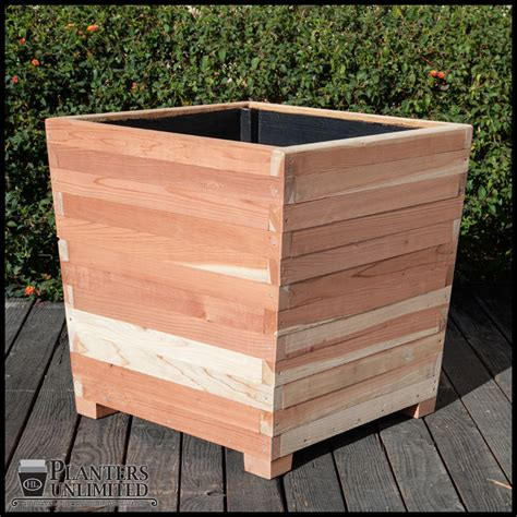 Wooden Planters On Legs by Commercial Redwood Planters With Planters Unlimited