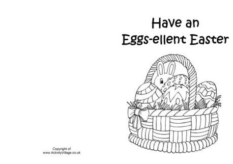 easter card templates to colour easter basket colouring card