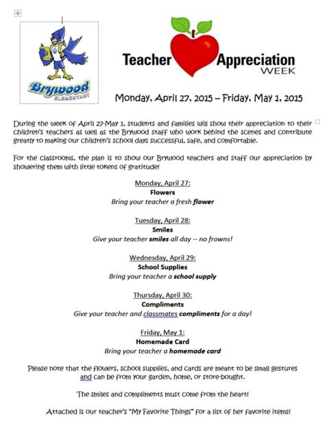 letter to teachers for appreciation week brywood pta appreciation week 4 27 15 5 1 15