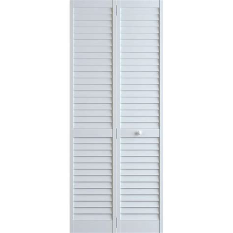 Bi Fold Louvered Closet Doors Frameport 36 In X 80 In Louver Pine White Plantation Interior Closet Bi Fold Door 3115259