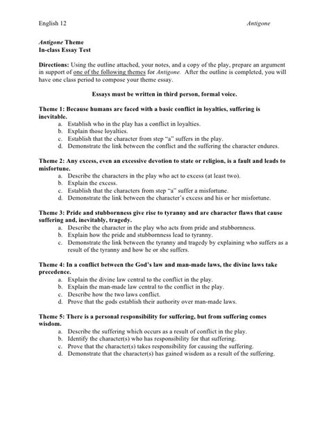 Theme Essay Outline | antigone theme essay