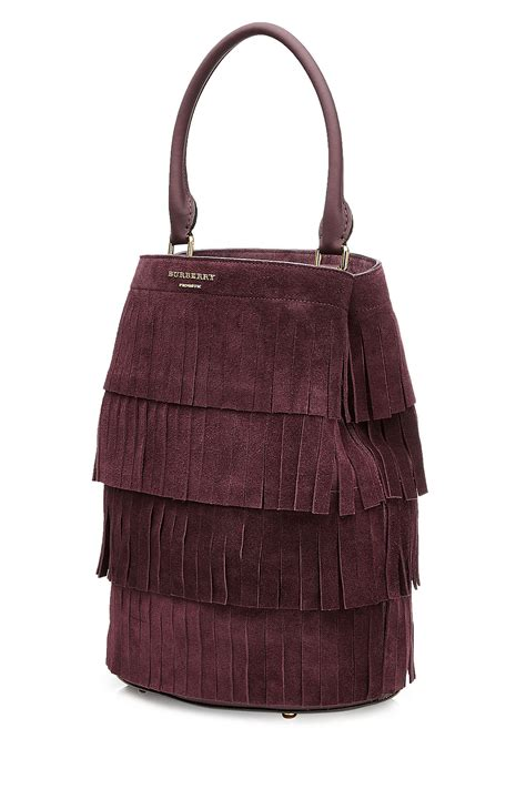 Nicky And Burberry Prorsum Tote by Lyst Burberry Prorsum Fringed Suede Tote Purple In Purple