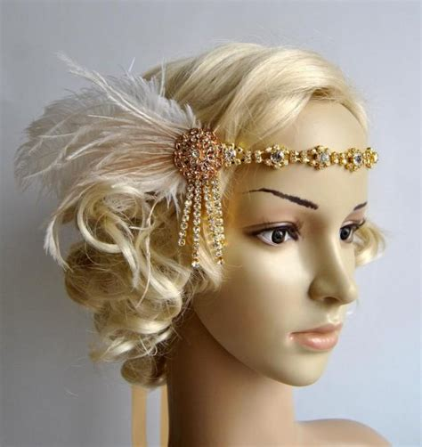 pictures great gatsby styles headpiece for women long gold rhinestone headband headpiece with feathers great