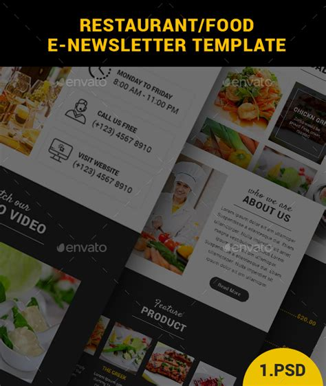 restaurant food e newsletter template by createuiux
