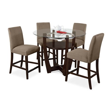 Dining Room Side Tables Alcove Counter Height Dinette With 4 Side Chairs Beige Value City Furniture