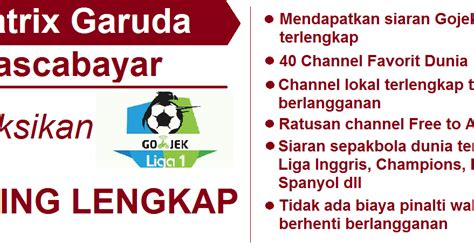 Harga Decoder Matrix Garuda matrix garuda pascabayar gojek liga 1 2018 info pay tv
