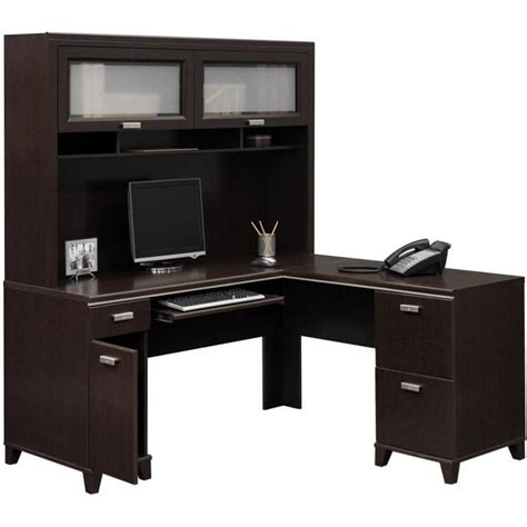 Bush Tuxedo L Shape Wood Set W Hutch Mocha Cherry Computer Cherry Wood Desk With Hutch