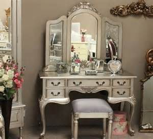 Silver Bedroom Vanity Silver Leaf Dressing Tables Transitional Bedroom