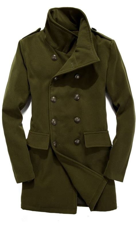 Loong Neck Jaket Army revers neck length winter casual army green