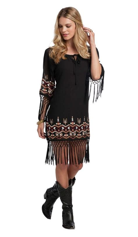 Aztec Embroidered Sleeve Dress White Size M 17090 details about fringe dress m western aztec embroidered black s country aztec