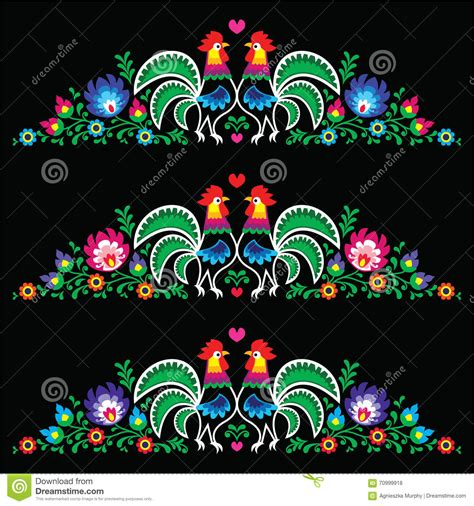 art design kielce polish folk art embroidery with roosters stock vector