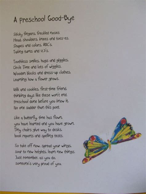 kindergarten poems pre k graduation themes preschool bye quot poem i will