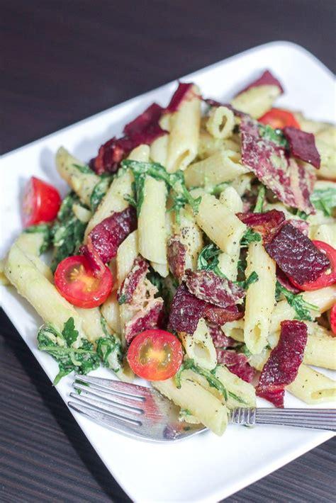 delicious pasta salad with avocado dressing maya kitchenette blt pasta with avocado dressing