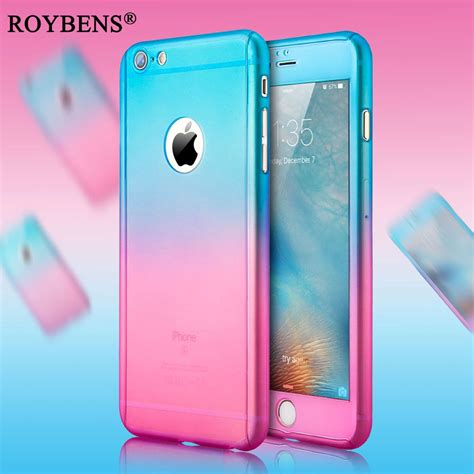 Iphone 6 6s 360 Gradient Rubber Hardcase Casing Biru Kuning luxury slim gradient coverage for iphone 7 360 degree pc cover for