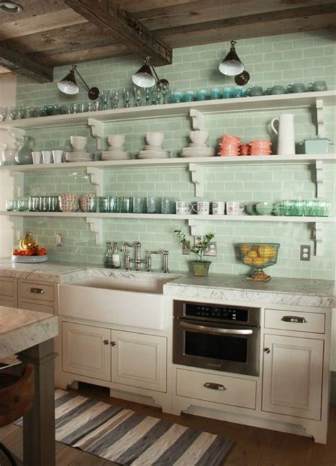 kitchens with shelves green green subway tile kitchens white off white 2 pinterest