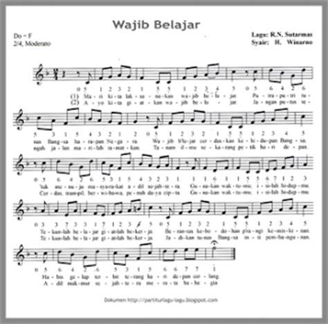belajar kunci gitar lagu wali not angka lagu wajib belajar kunci gitar piano pianika