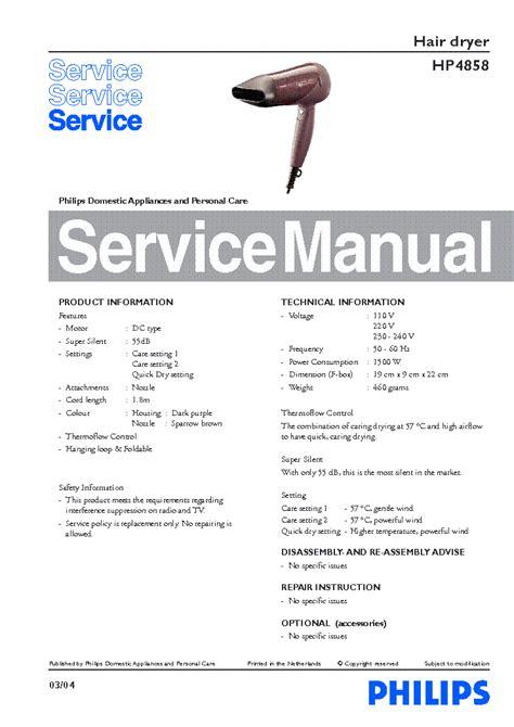 Philips Hair Dryer Repair Manual philips hp 4858 hair dryer info service manual