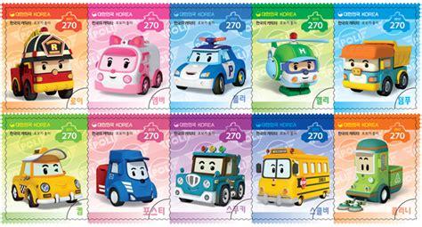 Mainan Anak Robocar Poli Roy Merah Bisa Berubah Jadi Mobil Dan Robot bordas karakter kartun korea dalam materai dan perangko