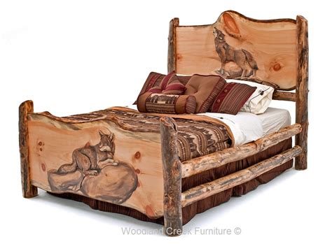 log cabin bed frame carved log bed cabin furniture lodge bedroom rustic