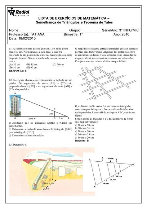 Mat Ti Teo by Exercicios De Semlhanca E Teorema De Tales