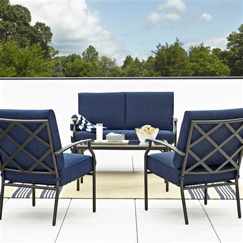 Casual Patio Furniture Sets Grand Resort Fairfax 4pc Seating Set Blue Olefin Outdoor Living Patio Furniture Casual