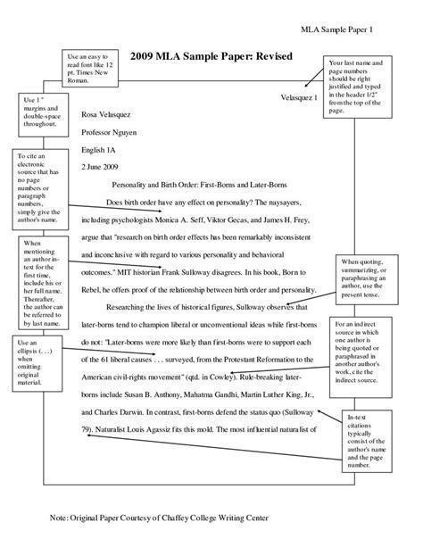 standard mla format  mla writing format sample