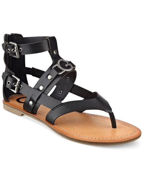 guess gladiator sandals g by guess hartin flat gladiator sandals in black save