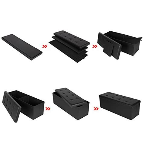 faux leather bench seat songmics faux leather folding storage ottoman seat bench import it all