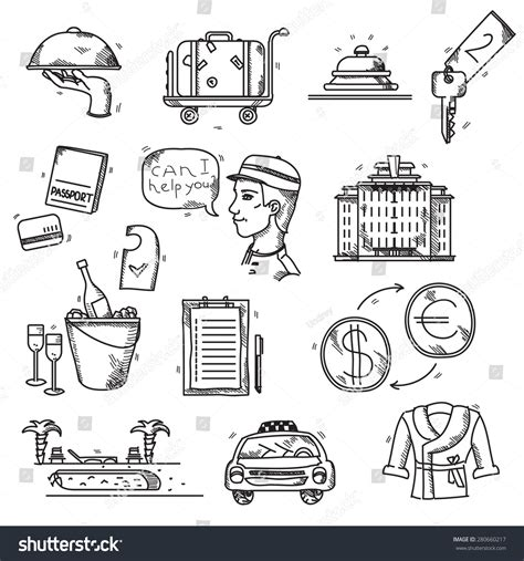 how to do hotel on doodle fit hotel services icons doodle style concept