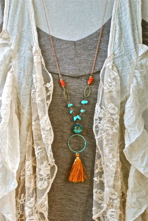 bohemian beaded turquoise tassel necklace por