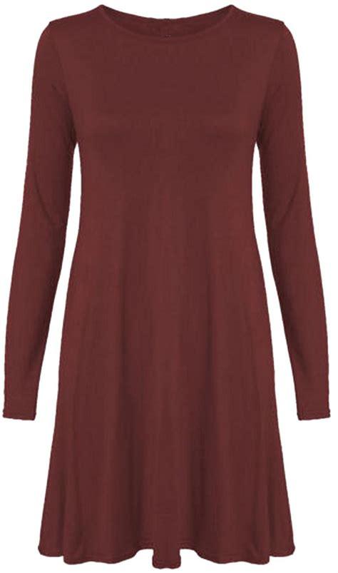 swing dress long sleeve new womens plus size long sleeve swing dress 8 22 ebay