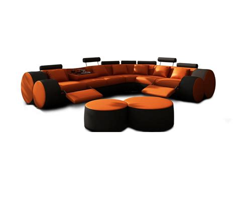 black leather sectional with ottoman dreamfurniture com 3087 modern orange and black