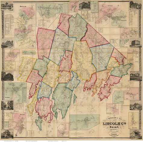 what county is lincoln in map of lincoln county me 1857 print of wall map