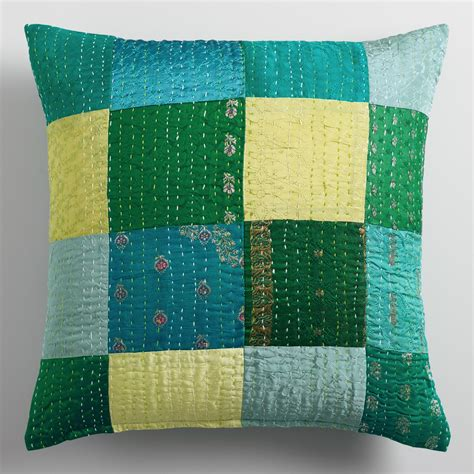 And Teal Throw Pillows by Green And Teal Sari Patchwork Throw Pillow World Market
