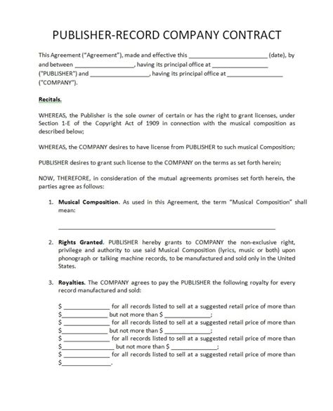 record label contract template recording contract template
